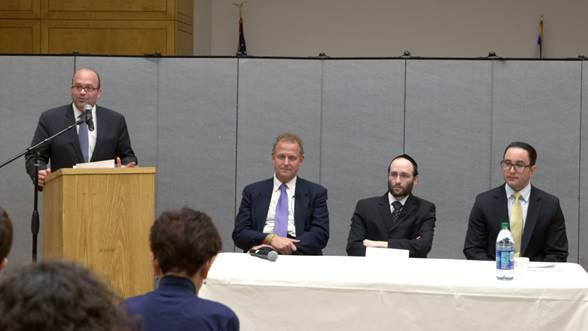 "On May 9th, Plaza Jewish Community Chapel collaborated with Calvary Hospital on an event, Basic Things You Should Know about Jewish End of Life Choices, Funeral & Burial: Halachic and Practical Implications for You"" at Congregation Kehilath Jeshurun in Manhattan. KJ Rabbi Elie Weinstock moderated the event. Pictured(left to right): Rabbi Weinstock, Christopher P. Comfort, MD, Medical Director, Calvary; Rabbi Rachmiel Rothberger, BCC, Jewish Community Liaison, Calvary; and Mitch Kronish, LFD, Plaza Funeral Director."